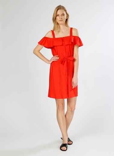 Limon Company Askılı Volanlı Kısa Elbise Kırmızı